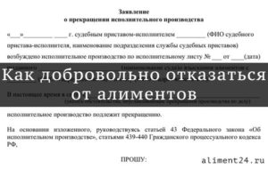 Официальный отказ от алиментов